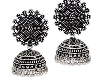 Oxidised silver Jhumka/Jhumki/indian jewelry/earrings/indian earrings