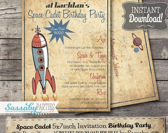 Space Cadet Birthday Invitation - INSTANT DOWNLOAD - partially editable & Printable Astronaught, Galactic, Rocket Party Invite