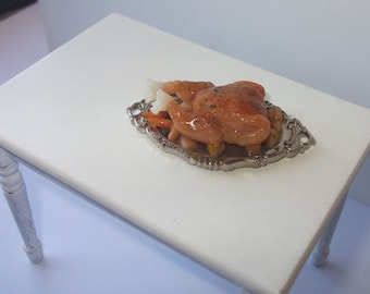 Dollhouse Roasted Chicken on serving tray , 1/12 scale