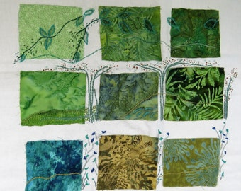 Green fields embroidery art, Artwork for living room, Abstract wall decor, Hand embroidery artist, Modern embroidery fiber art, inchies
