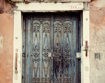 door photography, venice italy, ironwork, blue decor, pink decor, architecture, travel photography, venice phototography V30