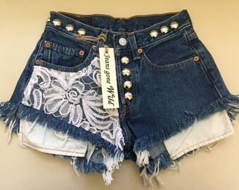 New LACE High waist destroyed denim shorts super frayed  size Sm/Med/Lg