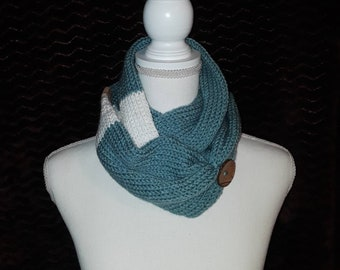 Teal white infinity scarf