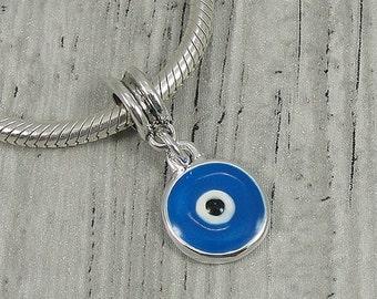 Blue Evil Eye European Dangle Bead Charm - Silver and Blue Evil Eye Charm for European Bracelet