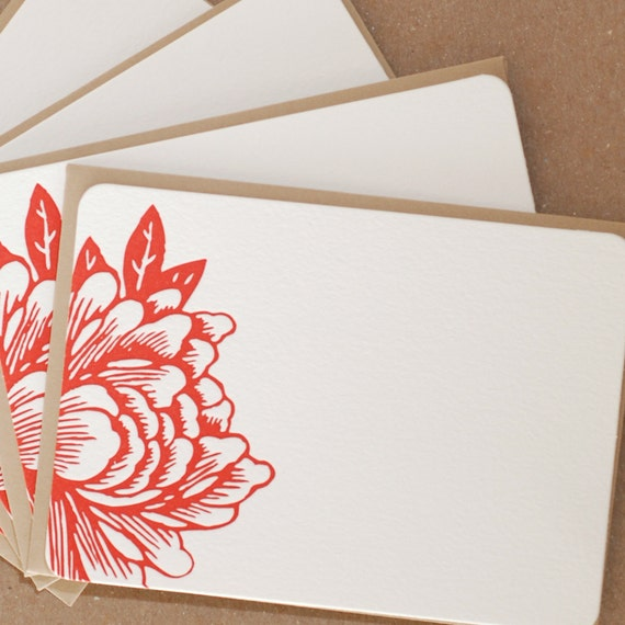 Stationery Notes, Letterpress : Scarlet Red Blossoming Flower Notes, - box of 5 small flat cards w kraft brown colored envelopes