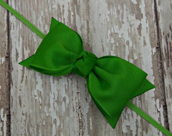 Boutique Apple Green Tuxedo Bow Skinny Elastic Headband Infant/Toddler Hair Bow Bowband