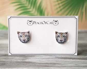 animal earrings ,  tiger gift , tiger jewelry , tiger stud earrings , tiger jewellery  , hypoallergenic studs