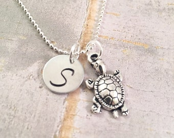 Baby Turtle Necklace, Personalized turtle necklace, turtle necklace, baby turtle jewelry, initial jewelry, ocean jewelry, save the turtles