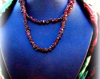 Gorgeous Garnet Necklace, garnet necklace, long stone necklace, dark red gemstone, love stone