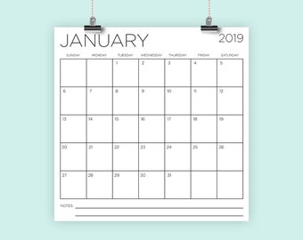 Square 2019 Calendar Template Style 2 | INSTANT DOWNLOAD | Large Monthly Printable Minimal Desk Calender | Prints up to 12 x 12 Inches