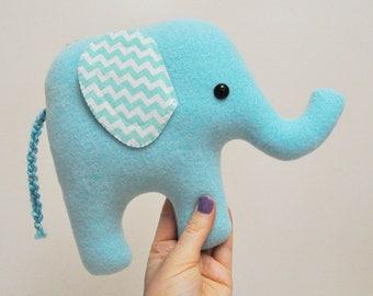 Curious Light Blue Plush Elephant - Chevron Stiped Ears - READY TO SHIP