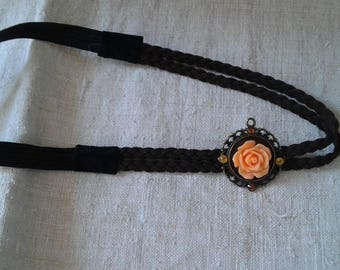Braid and pretty apricot flower headband