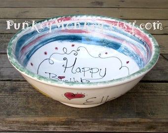 Personnalisé géant pop-corn snack bol de céramique 12 pouces de diamètre bol de service de taille de la famille décoré votre mariage couleurs texte salade bol