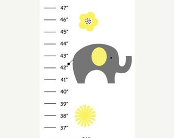 Personalized Yellow Gray Elephant Canvas Growth Chart