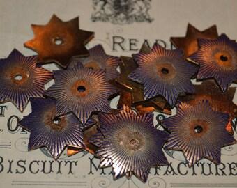 Antique Copper Blue Enameled Star Burst Finding DIY Jewelry Supplies Art Deco Plaque Set of 2