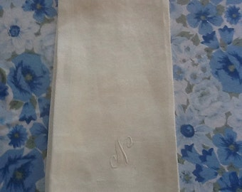 Initial N - White on white tea finger tip towel - Ireland
