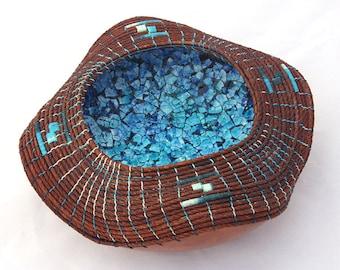 Gourd Bowl With Eggshell Mosaic -Item 742 by Susan  Ashley