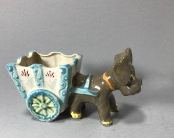 Ceramic Dog Pulling Cart Planter, Dog Pulling Wagon Planter, Indoor Planter, Air Plant Planter, Scottie Dog Pulling Cart, Brownish Grey Dog