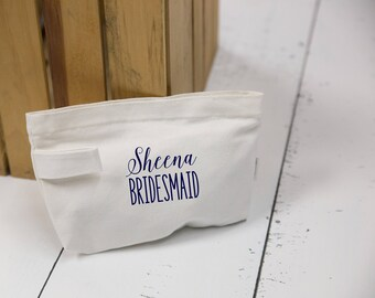Bridesmaid gift idea, makeup bag. Canvas zip bag for bridesmaid gift. Wedding party gift idea. Monogrammed makeup bags for wedding day. Gift