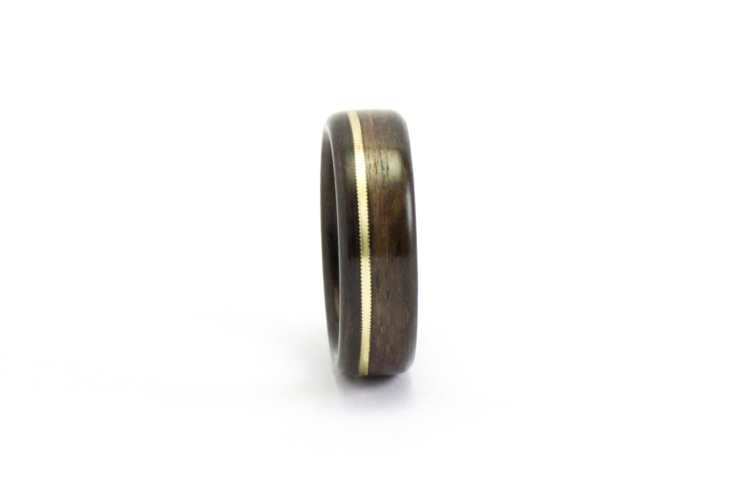 Wood Ring, Ebony and Gold Guitar String Ring, Wood Wedding Ring, Men's Wooden Ring, Wedding Band Men, Bentwood Ring, Wooden Wedding Band