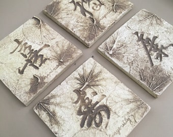 Set of 4 Kanji coasters: faith, longevity, health, prosperity- hand carved Japanese slate stone coasters / tiles