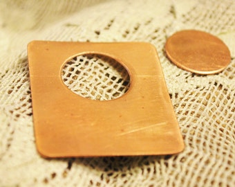 Rectangle Copper or Brass Blanks w/Circle Cut Outs  -  FREE SHIPPING