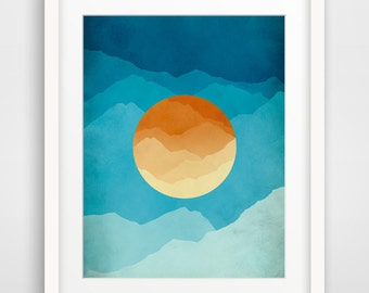 Mid Century Art Print, Modern Wall Art, Gift for Men, Mountain Art, Abstract Landscape, Mid Century Modern, Minimalist Poster, Gift for Her