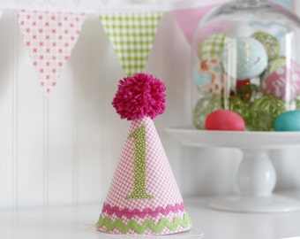 Pink and green gingham fabric birthday hat, party hat, cake smash photo prop, 1st birthday hat