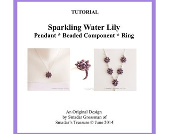 Beading Tutorial, Sparkling Water Lily Pendant, Ring, Beaded Connector. Pattern with 2 Hole CzechMate Triangle Beads. Jewelry Making Pattern