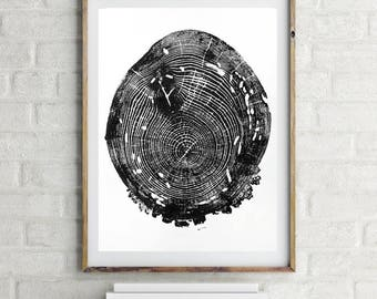 Large tree ring print, handmade woodblock print, original modern art, large wall art, 16 X 20