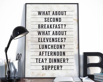 Lord of the Rings, What about second breakfast, LOTR Quote, Tolkien Quote, Lord of the Rings Print, Lord of the Rings Poster