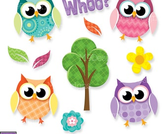 "Owls Clip Art: ""FANCY PATTERN OWLS"" Owl Clipart, Instant Download"