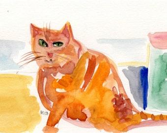 Original drawing, painting, THE ORANGE CAT,  ooak  Vang paper