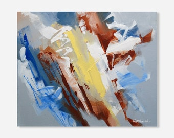 Abstract  Blue Painting Grey Painting Yellow Painting Modern Painting Original Painting