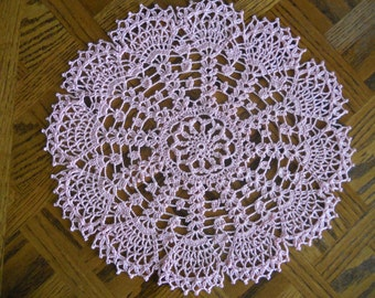 Snow Flurry Crocheted Doily - handmade- pink,