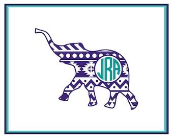 Monogram Aztec Elephant Decal- Aztec Elephant Monogram Car Decal- Laptop Decal