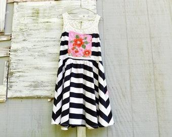 Recycled Clothing, Black and White Dress, Spring Tunic, Floral Tunic, Lace, Up-cycled Clothing, Reclaimed, Upcycled Dress, Boho, CreoleSha