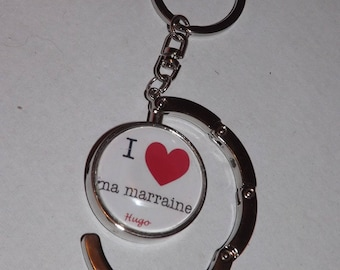 great Keyring key/grip bag, glass cabochon 30 mm, i love my godmother (with the child's name or without your choice)