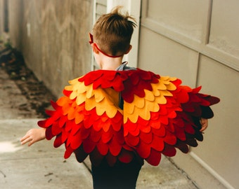 Kids Bird Wing Costume, Kids Phoenix Wing Cape, Firebird Wing Costume, Toddlers Costume, Soft Toy, Gift for Kids, Gift for Boys, Made in UK