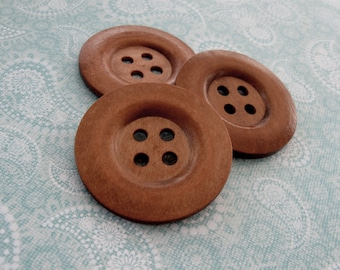 "Extra large button - 3 wooden buttons 50mm (2"") Coffee brown (BB151A)"