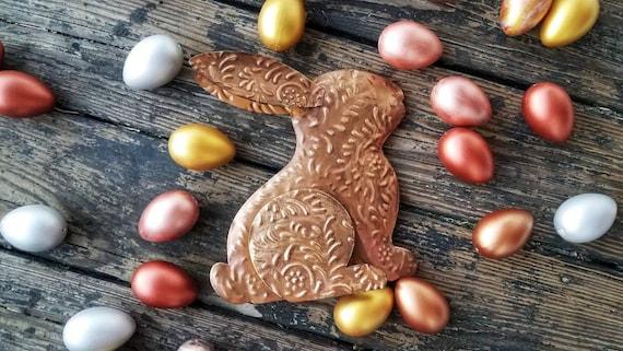 Decorative Easter Bunny, Tin Easter Bunny,  Gilded Rabbit, Metal Easter Decor, Easter Table Decor