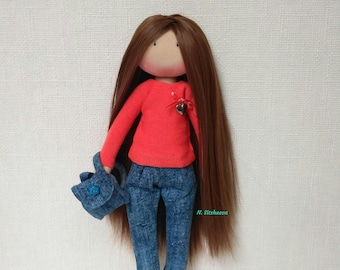 Decor doll Rag doll Fabric doll Cloth doll Art doll Interior doll Baby doll Tilde Doll brunette gift girl Textile doll Gift Doll hahdmade