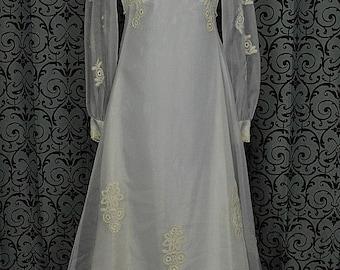 "Vintage 1970s White Chiffon Empire Wedding Dress/Gown w 68"" Train, ILGWU"