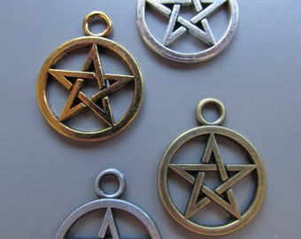 Pentagram pentacle charm pendant 4 colours to choose Pagan