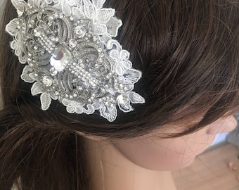 Crystal and ivory lace bridal headpiece