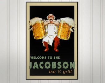 """Large Personalized Barkeep Beer Sign, Man Cave Bar Sign, Pub Sign, 18"""" x 24"""""""