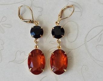 Topaz Rhinestone Earrings, Crystal Rhinestone Earrings, Topaz Earrings, Gift for Her, Vintage Rhinestone Earrings, Victorian Earrings