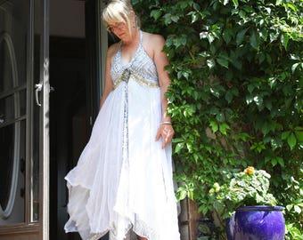 upcycled dress S - M upcycled womens clothing, upcycled fashion, romantic boho dress . sea talk