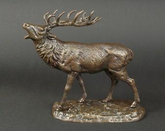Metal Figurine, Deer Figurine, Brass Statue, Deer Statue, Animal Sculpture, Bronze Deer, Deer, Desk Decor, Desk Accesories,