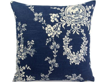 Blue French Country Toile Cushion Cover, Custom Euro Square or Lumbar Pillow, Blue Floral Throw Pillow, Waverly Country House Indigo Blue